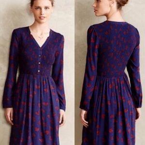EUC Anthro Maeve Banet Blue Heart Print Dress L